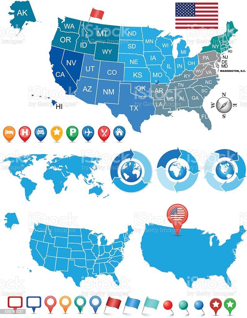 Usa and world map kit stock vector art more images of 2015 usa and world map kit royalty free usa and world map kit stock vector art gumiabroncs Images