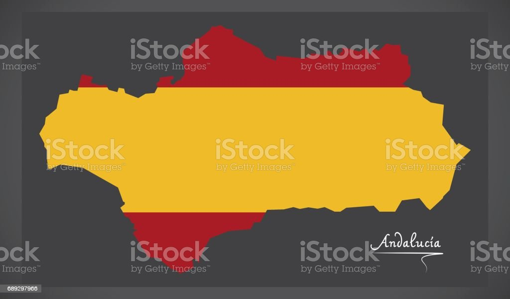 Andalucia map with Spanish national flag illustration vector art illustration