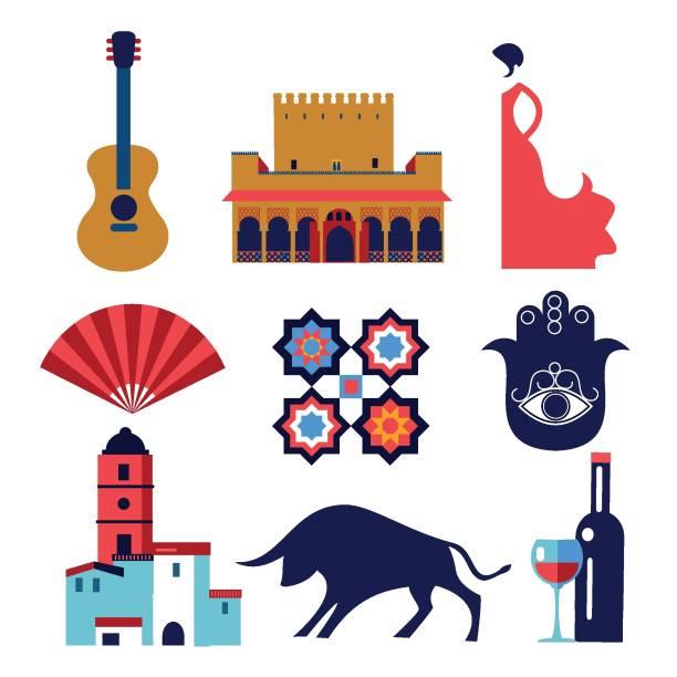 andalusien setzt vektorsymbole und symbole - spanien stock-grafiken, -clipart, -cartoons und -symbole