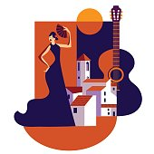 istock Andalucian vector illustration of white mediterranean  town and flamenco dancing woman 1286077490