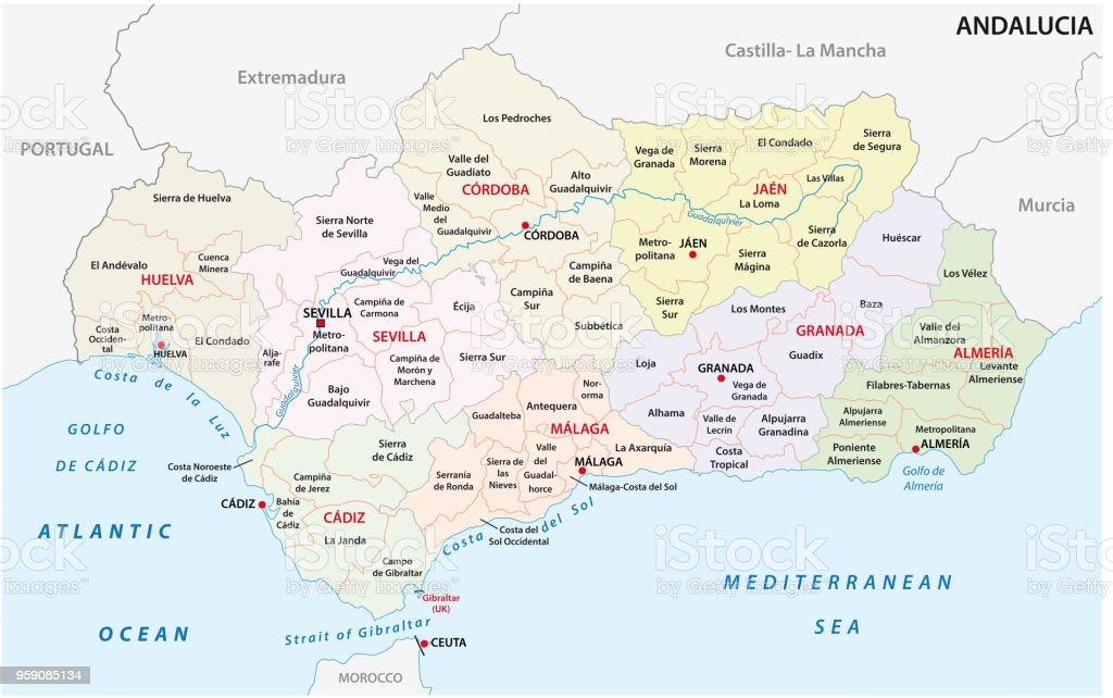 Mapa De Andalucia Politico.Ilustracion De Mapa Administrativo Y Politico De Andalucia Y