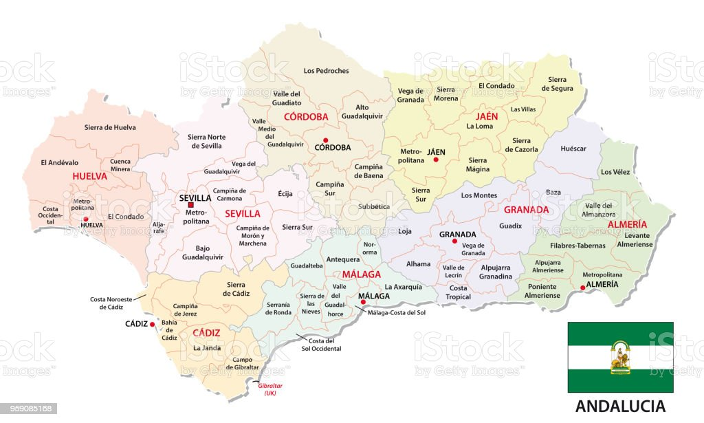 Mapa De Andalucia Politico.Ilustracion De Mapa Administrativo Y Politico De Andalucia