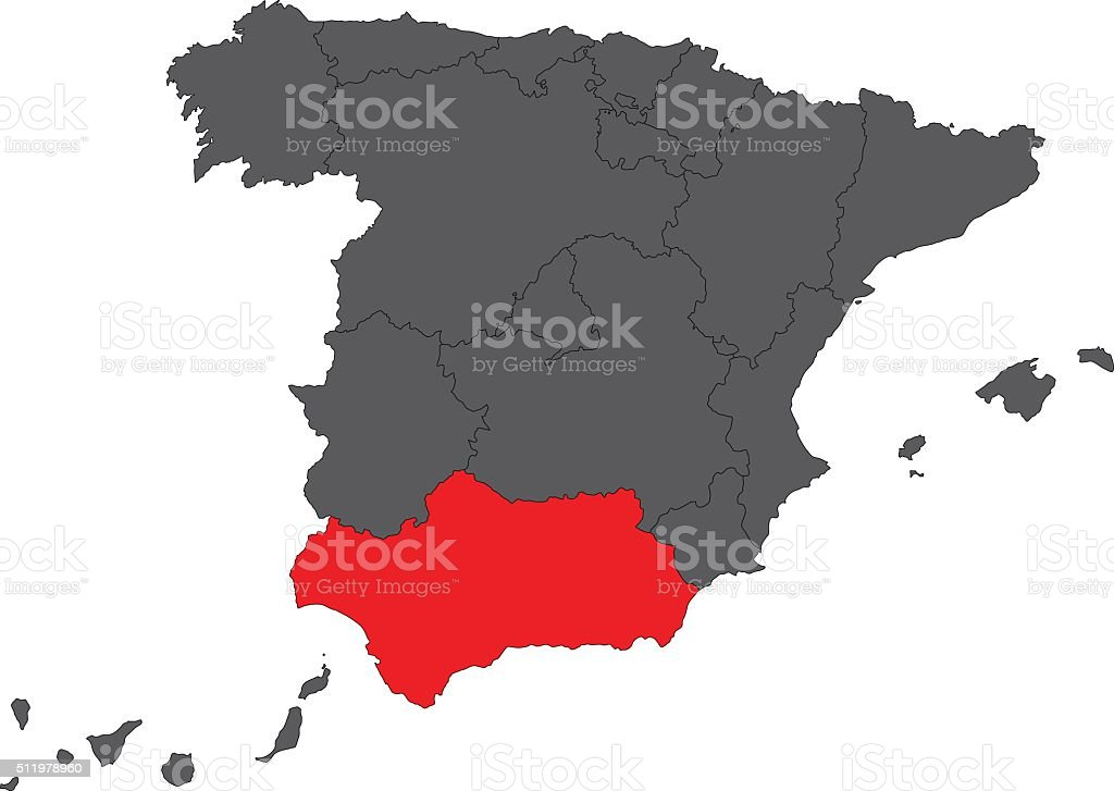 Andalusia red map on gray Spain map vector vector art illustration