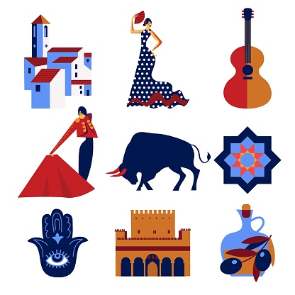 Andalusia set of vector icons and symbols