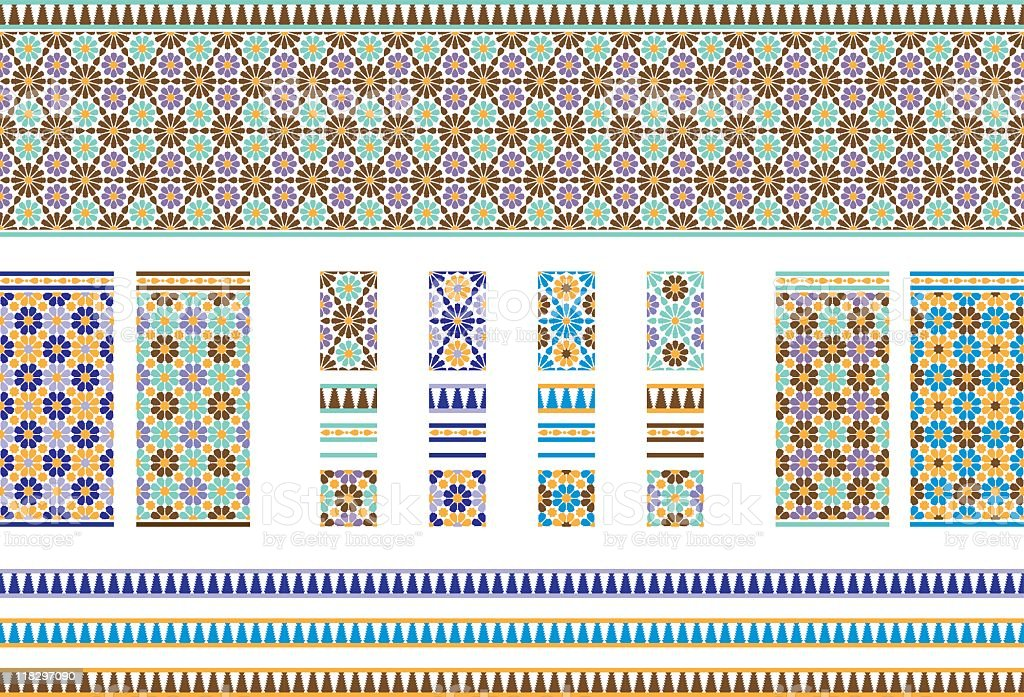 Andalusian Spanish, Moroccan Tiles royalty-free stock vector art