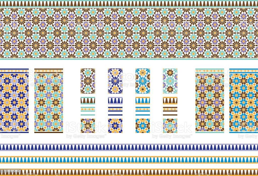 Andalusian Spanish, Moroccan Tiles vector art illustration