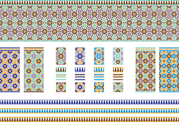 Andalusian Spanish, Moroccan Tiles Vector illustrations of various designs and colour variations of tiles inspired by the the Spanish and Moroccan style. Colors used are traditional.  All tiles repeat their pattern perfectly and all elements are easily selectable to change colors if desired.  [url=http://www.istockphoto.com/search/lightbox/13677304][img]http://i1290.photobucket.com/albums/b522/Theresita13/Banner_zps2da2424b.jpg[/img][/url] morocco stock illustrations