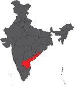 Andhra Pradesh red on gray India map vector