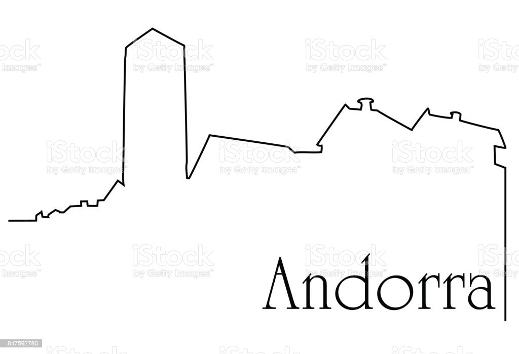 Andorra city one line drawing vector art illustration