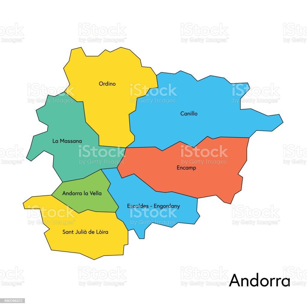 Andorra color map regions and names vector art illustration