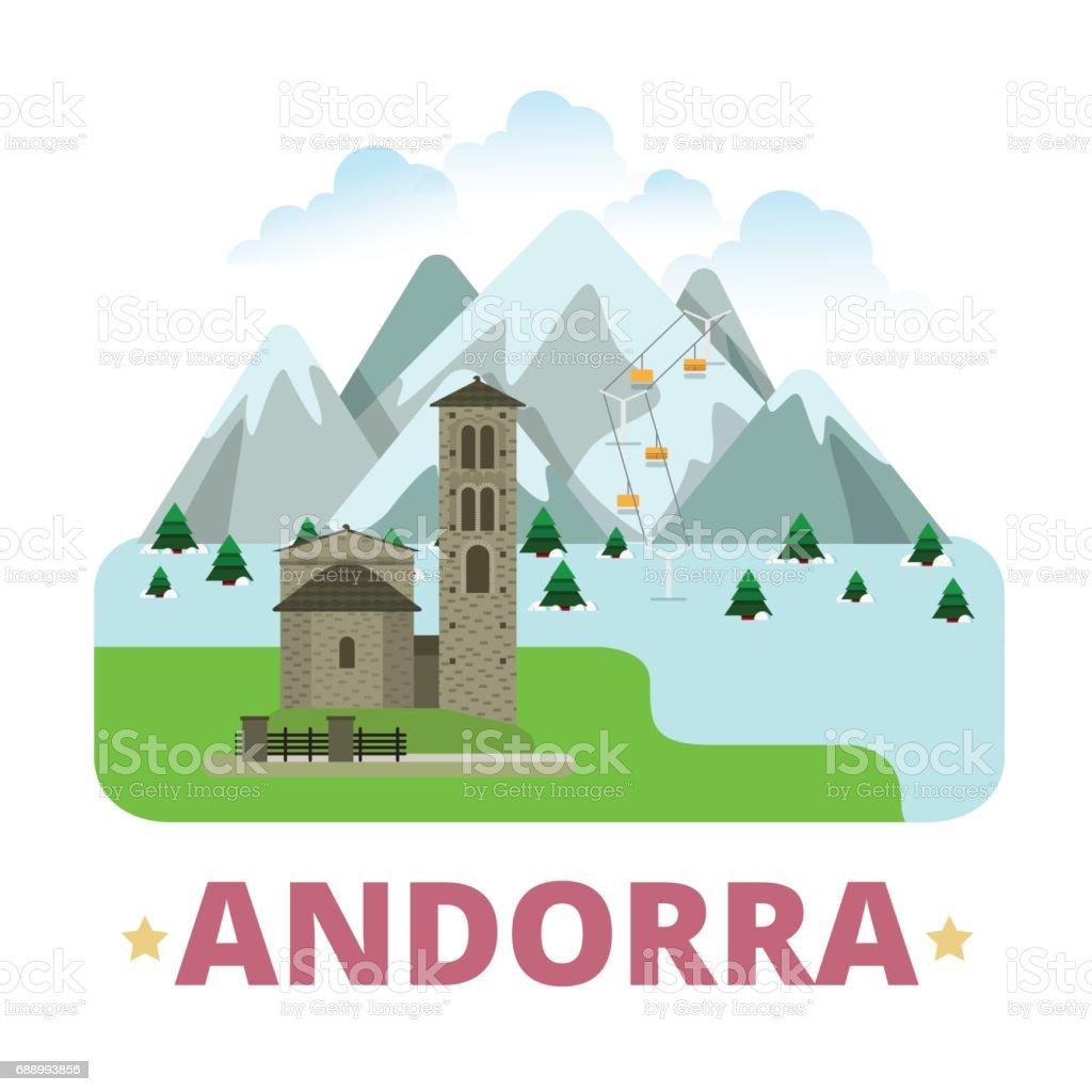 Andorra country badge fridge magnet design template. Vallnord Sant Joan de Caselles. Flat cartoon style sight web site vector illustration. World vacation travel sightseeing Europe European collection vector art illustration