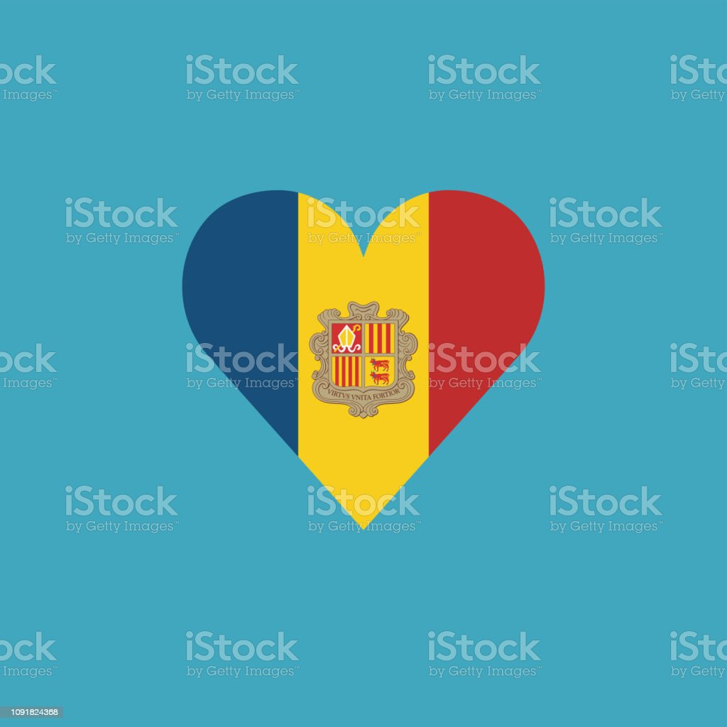 Andorra flag icon in a heart shape in flat design vector art illustration
