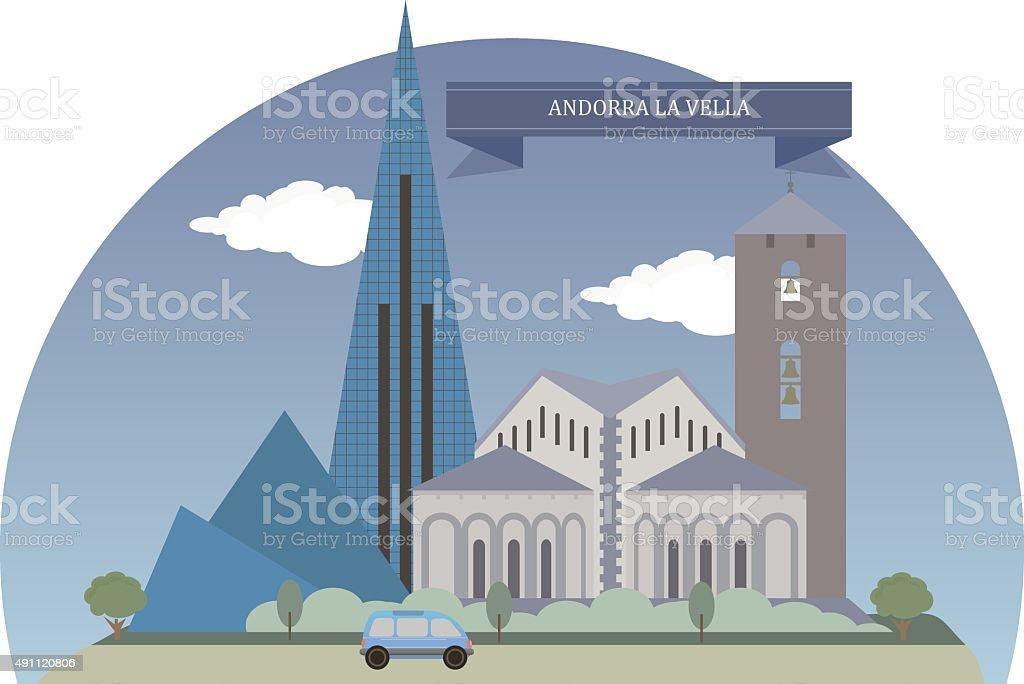 Andorra la Vella vector art illustration