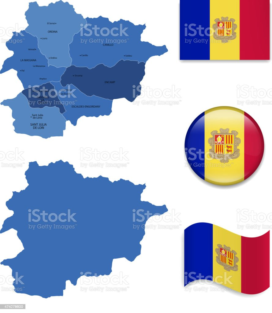 Andorra Map and Flag Collection vector art illustration