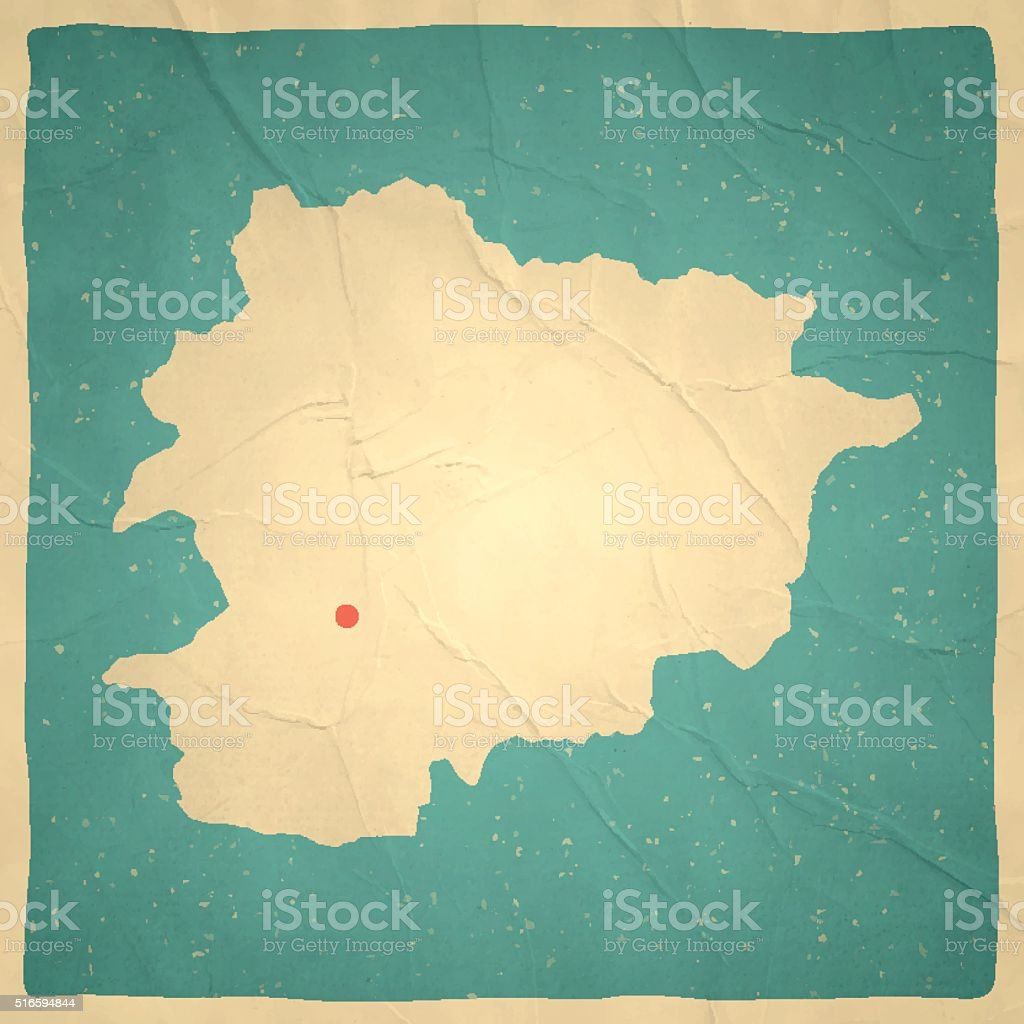 Andorra Map on old paper - vintage texture vector art illustration