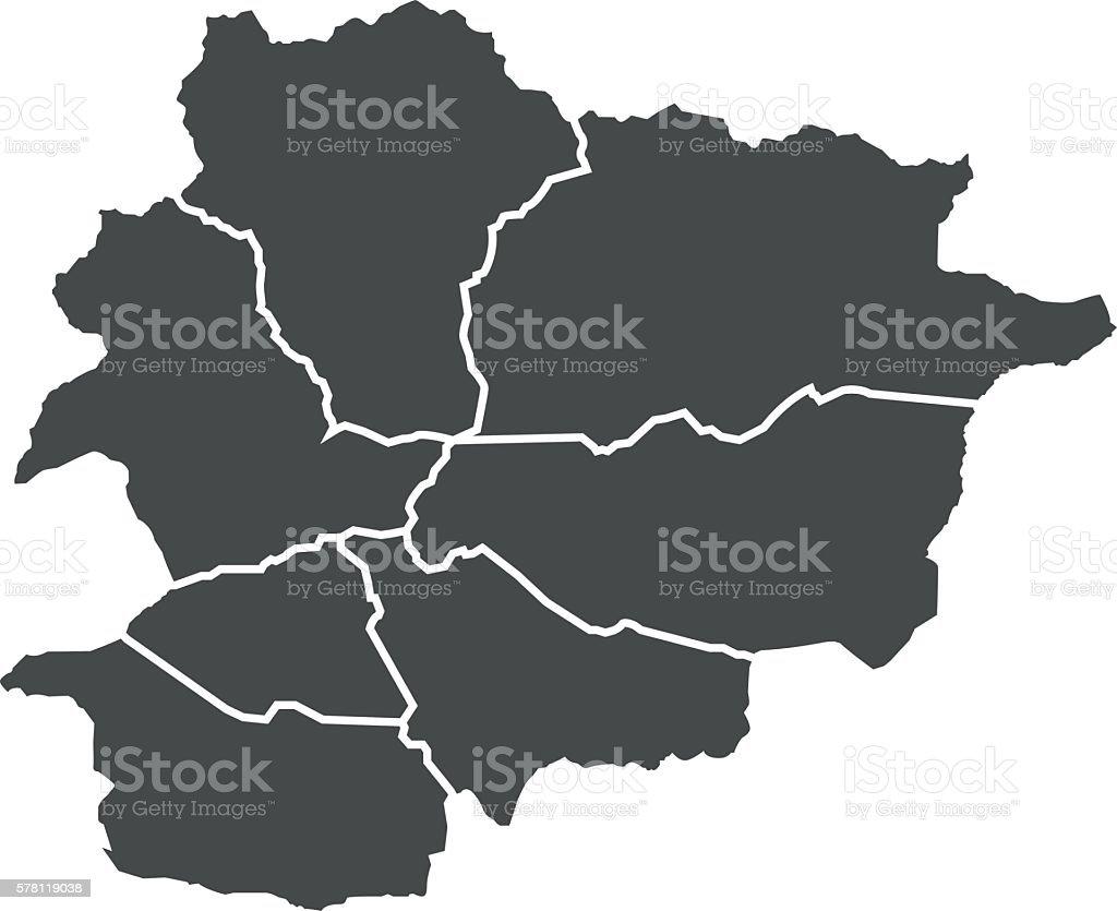 Andorra map vector art illustration