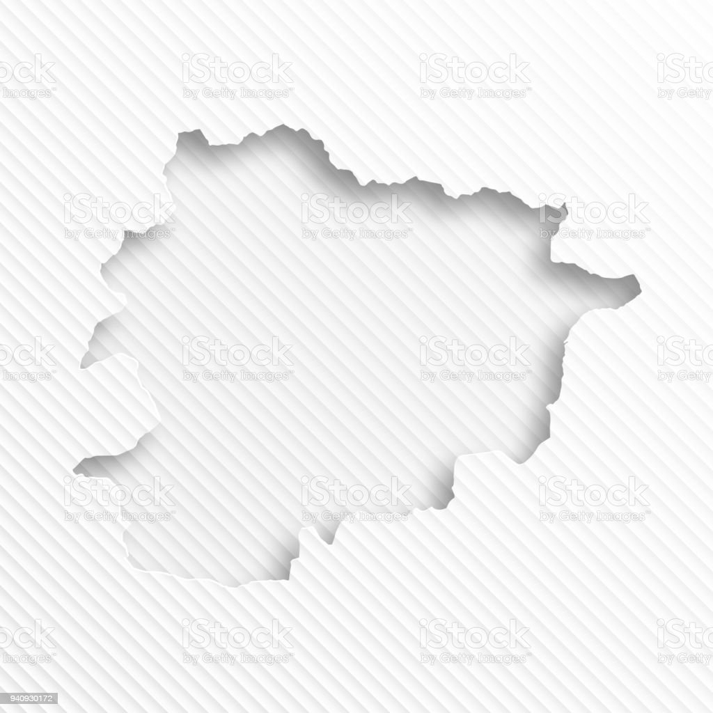 Andorra map with paper cut on abstract white background vector art illustration