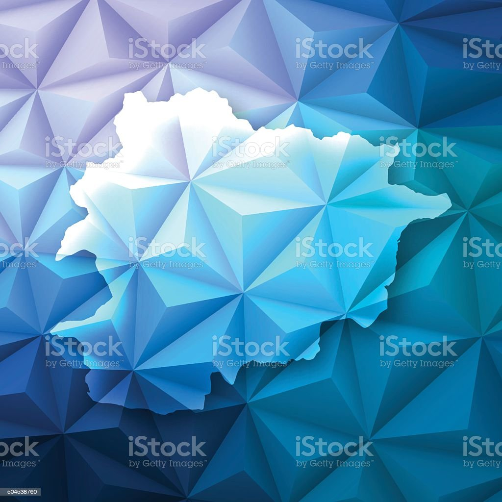 Andorra on Abstract Polygonal Background - Low Poly, Geometric vector art illustration
