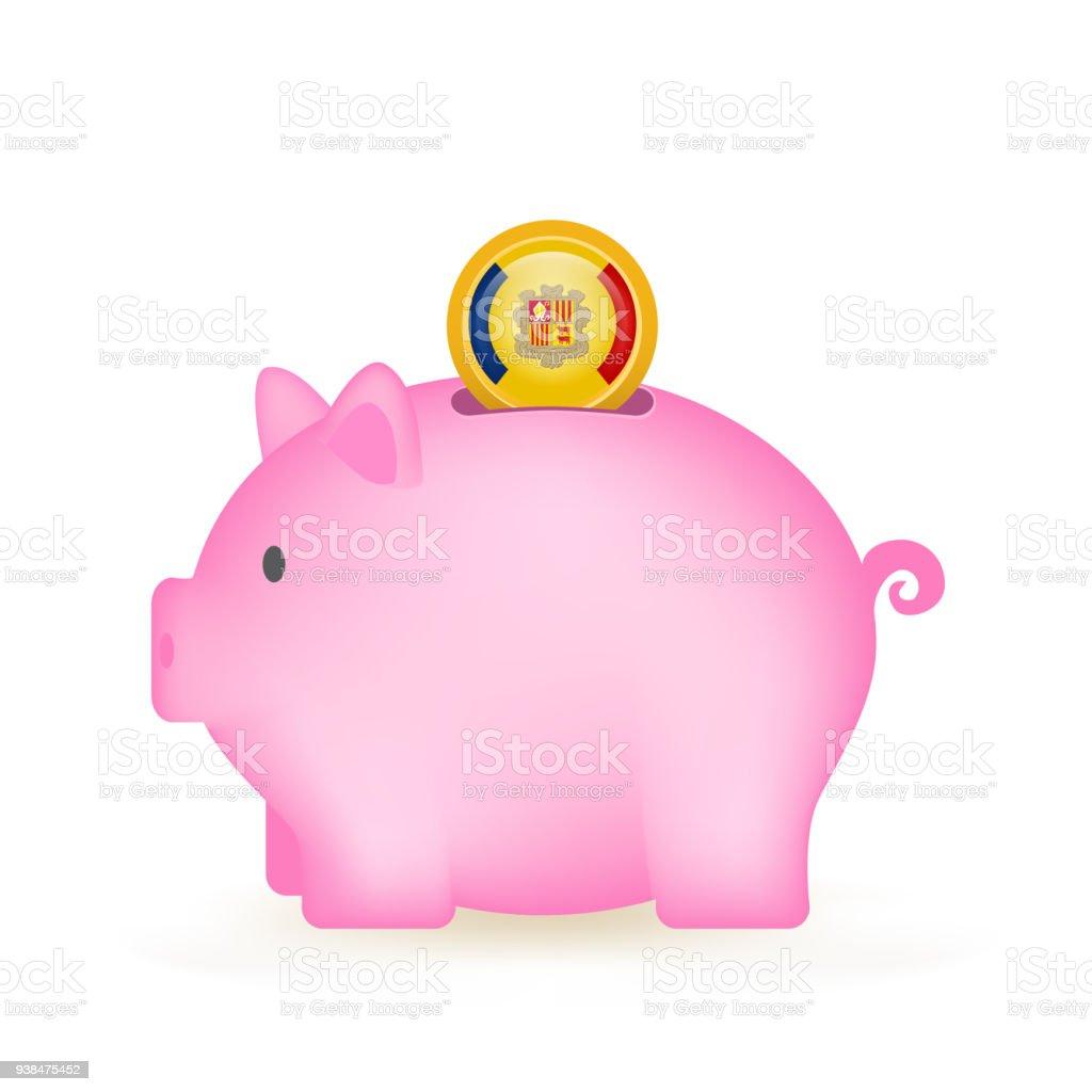 Andorra Piggy Bank Savings vector art illustration