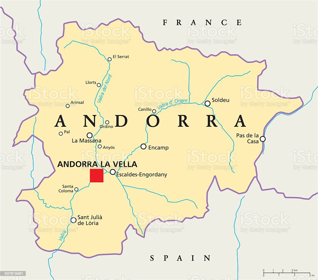 Image of: Andorra Political Map Stock Illustration Download Image Now Istock