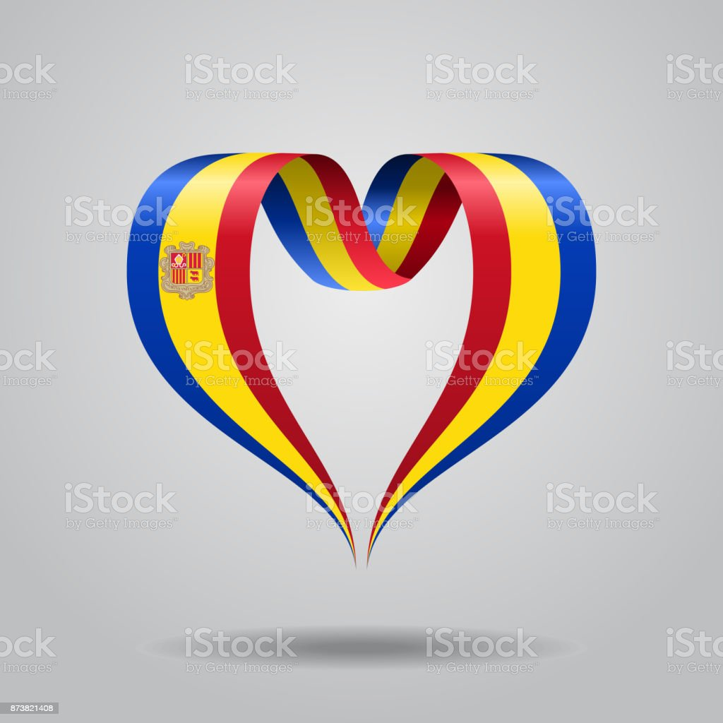 Andorran flag heart-shaped ribbon. Vector illustration. vector art illustration