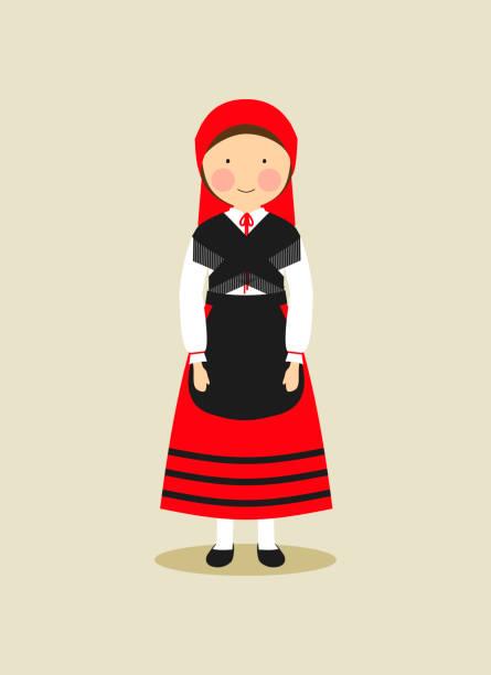 Andorran traditional clothing for women vector art illustration