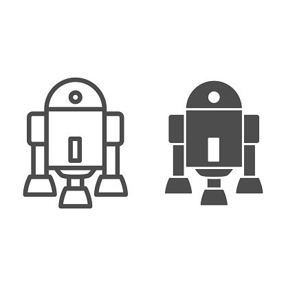 Android Robot line and solid icon, Robotization concept, Android symbol figure sign on white background, robot silhouette icon in outline style for mobile concept and web design. Vector graphics.