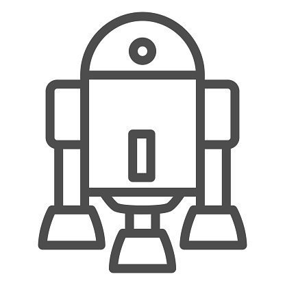 Android Robot line icon, Robotization concept, Android symbol figure sign on white background, robot silhouette icon in outline style for mobile concept and web design. Vector graphics.