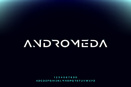 Andromeda, a modern minimalist futuristic alphabet font design