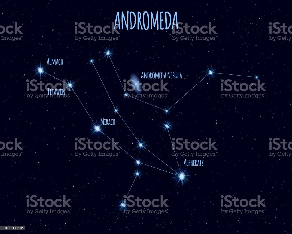 Andromeda constellation, vector illustration with the names of basic stars - Векторная графика Абстрактный роялти-фри