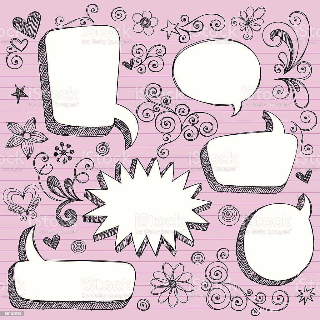 Andron speech bubbles and doodles on pink looseleaf paper royalty-free andron speech bubbles and doodles on pink looseleaf paper stock vector art & more images of color image