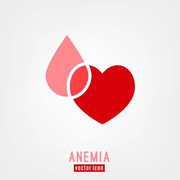 Anemia and Hemophilia icon Anemia and Hemophilia icon. Heart shape with blood drop isolated on white background in flat style. Haemophilia disease awareness symbol in pink and red color. Vector illustration. anemia stock illustrations
