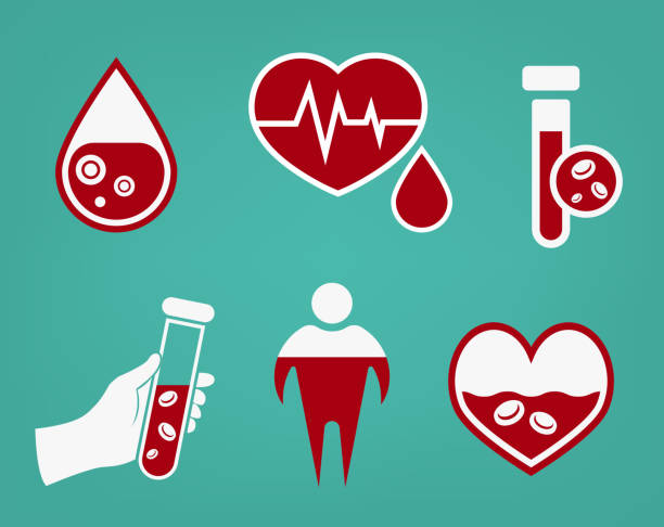 Anemia and Hemophilia icon Anemia and Hemophilia icons set in red and white color. Heart shape, dropping blood, test-tubes signs on a green background in flat style. Haemophilia disease awareness symbol. Vector illustration. anemia stock illustrations