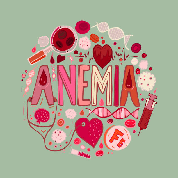 Anemia doodles background Creative anemia background with lettering in doodle style. Hand drawn vector illustration in red and pink colors isolated on light green background. Medical, healthcare and educational concept. anemia stock illustrations