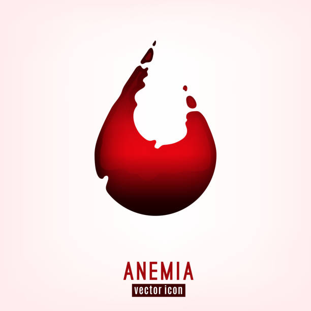 Anemia Icon-17 Anemia icon. Vector illustration in deep red color with a drop shaped liquid hematic spot isolated on a light background. Haemophilia disease awareness symbol. anemia stock illustrations