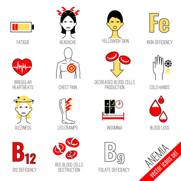Anemia Icons Set Anemia symptoms and causes icons set. Medical and healtcare concept. Editable vector illustration in modern style. anemia stock illustrations