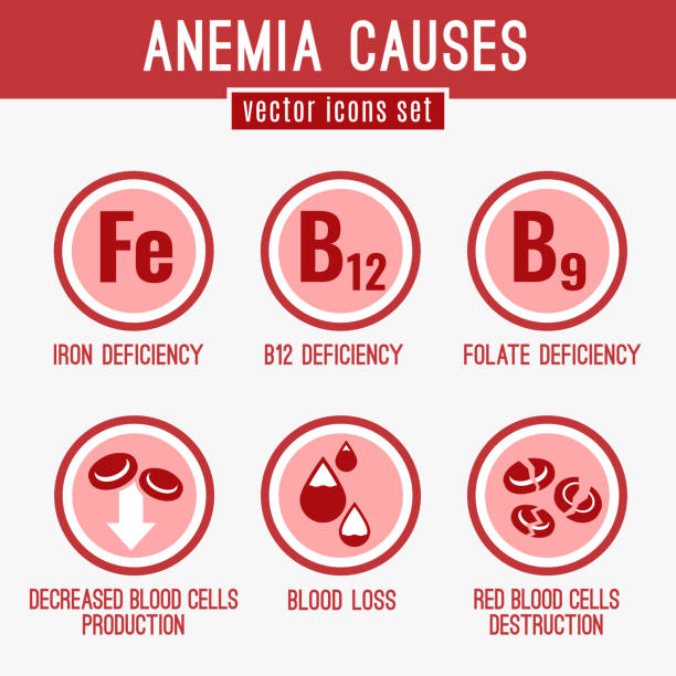 Anemia Icons Set Anemia causes icons set. Medical and healtcare concept in red, white and pink colors. Editable vector illustration in modern style. anemia stock illustrations