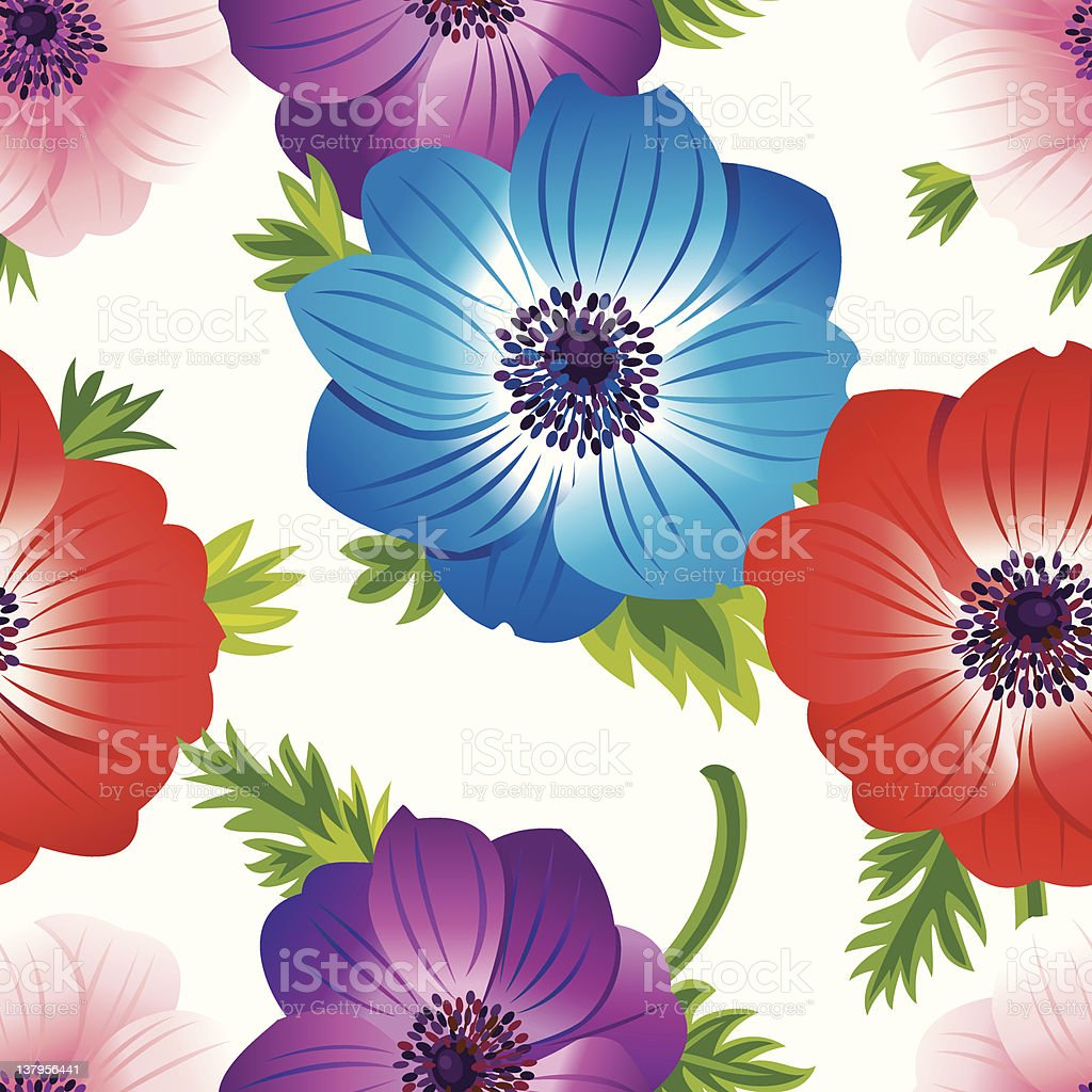 Anemone Floral Pattern (White) royalty-free anemone floral pattern stock vector art & more images of anemone flower