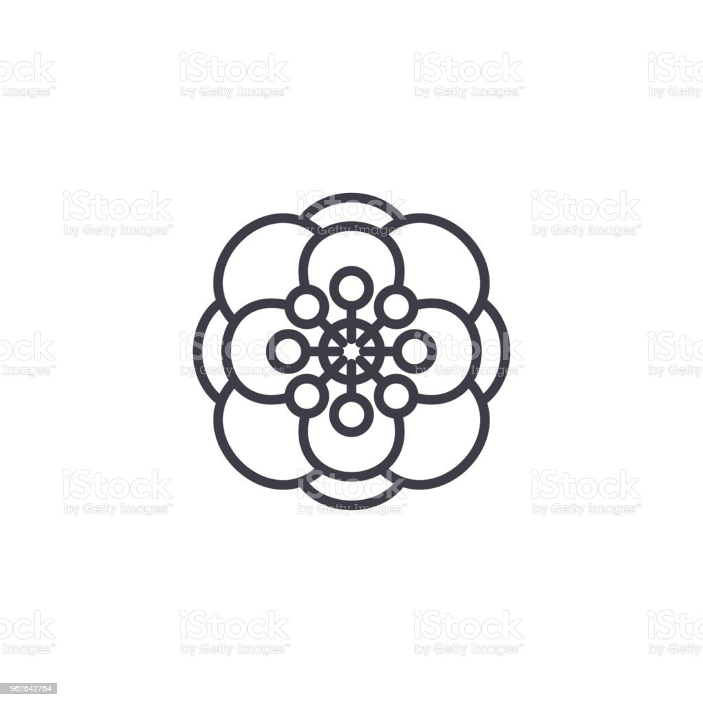 Anemone flower line icon concept. Anemone flower flat vector sign, symbol, illustration. - Royalty-free Anemone Flower stock vector