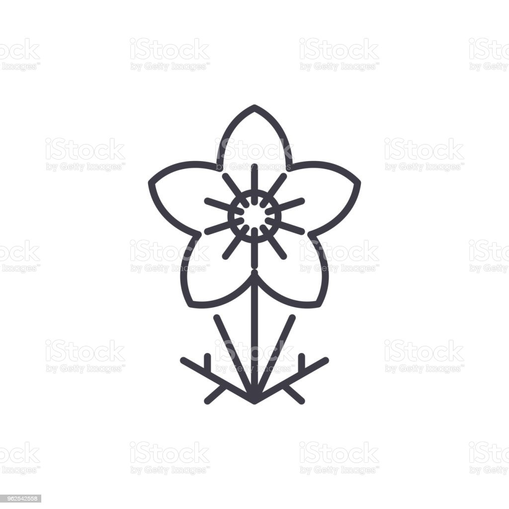 Anemone line icon concept. Anemone flat vector sign, symbol, illustration. - Royalty-free Anemone Flower stock vector