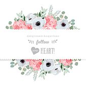 Anemone, rose, pink flowers and decorative eucaliptus leaves vector mirrored design card. All elements are isolated and editable.