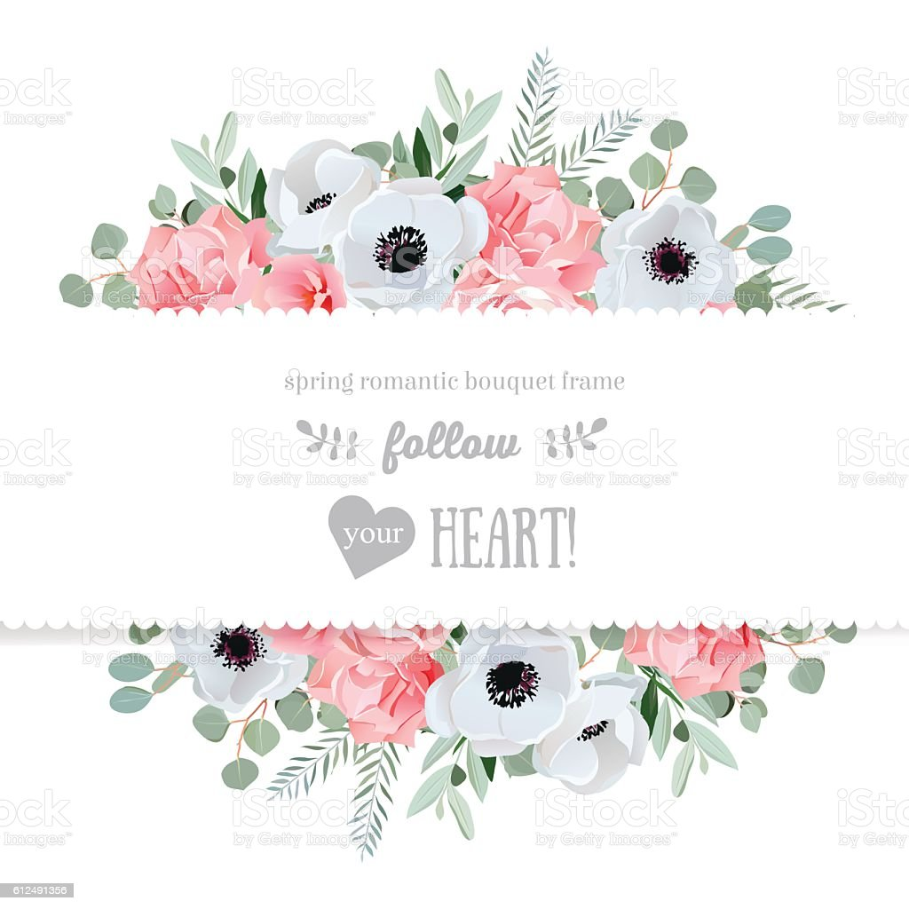 Anemone, rose, pink flowers vector mirrored design card. vektorkonstillustration