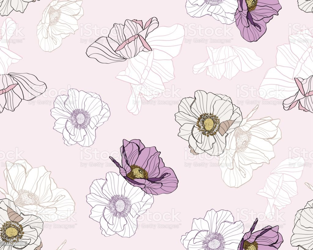 Anemone Seamless Pattern Of Line Colored Flowers Light Pink Floral