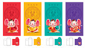 Ang Pau set. Chinese New Year colourful Red Packet Template set. Year of the rat red packet set.
