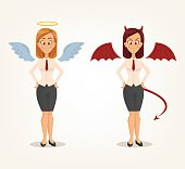 Angel and devil business woman office workers characters. Good and bad