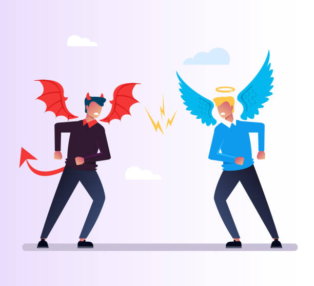 Angel and Devil lucifer character quarrels debate. God and evil conflict opposition selection way concept. Religion vector flat cartoon graphic design isolated illustration Angel and Devil character quarrels debate. God and evil conflict opposition concept. Religion vector flat cartoon graphic design isolated seven deadly sins stock illustrations