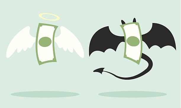angel and devil money - evil money stock illustrations, clip art, cartoons, & icons