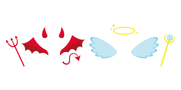 Angel and devil or demon costume attributes icon set isolated on white background.