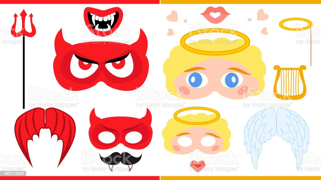 Angel and devil. Printable photo booth props. vector art illustration