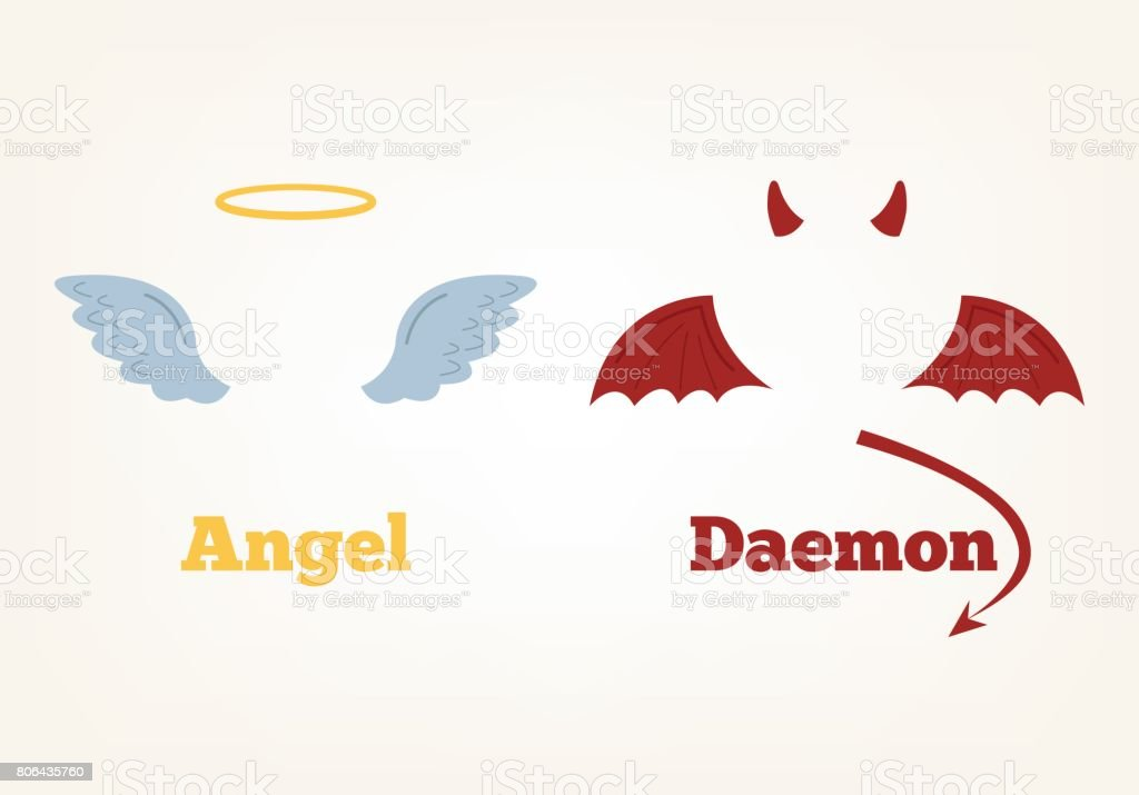 Angel and devil suit elements. Good and bad vector art illustration